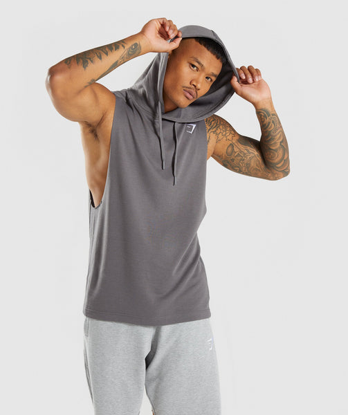 Gymshark Drop Arm Sleeveless Hoodie - Smokey Grey 4
