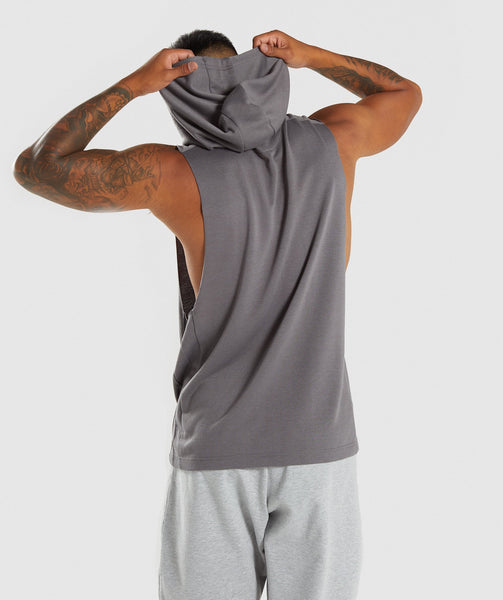 Gymshark Drop Arm Sleeveless Hoodie - Smokey Grey 1