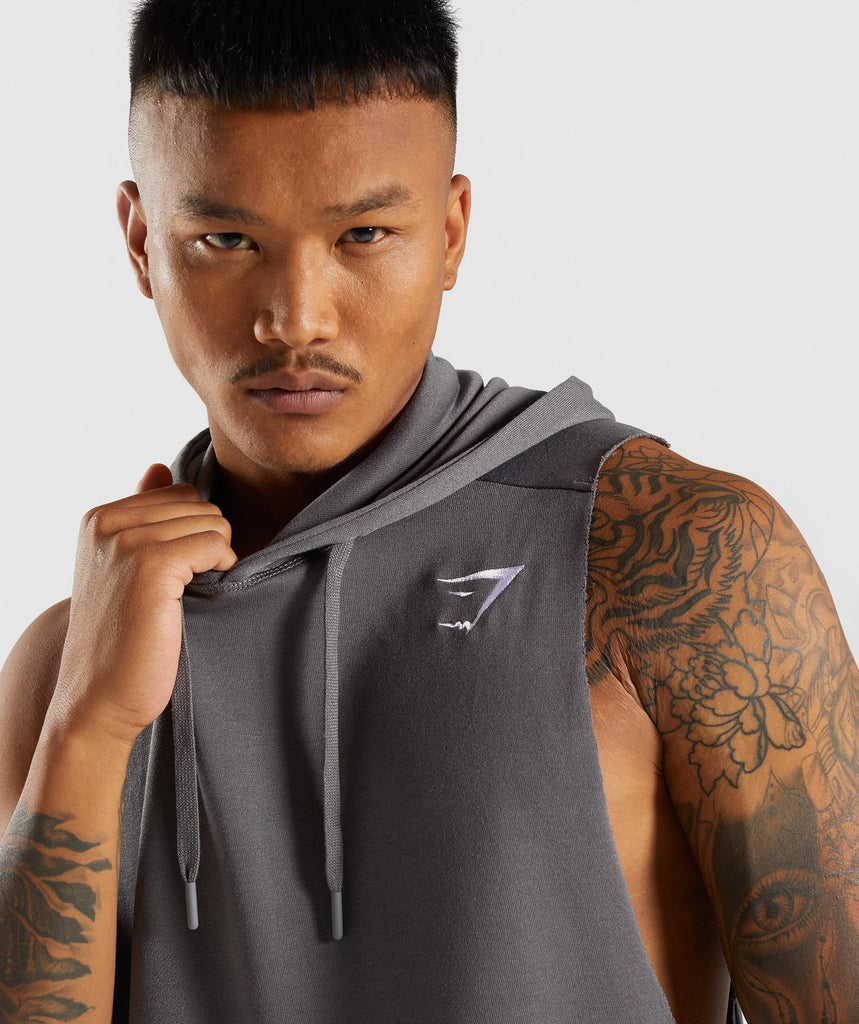 Gymshark Drop Arm Sleeveless Hoodie - Smokey Grey 6