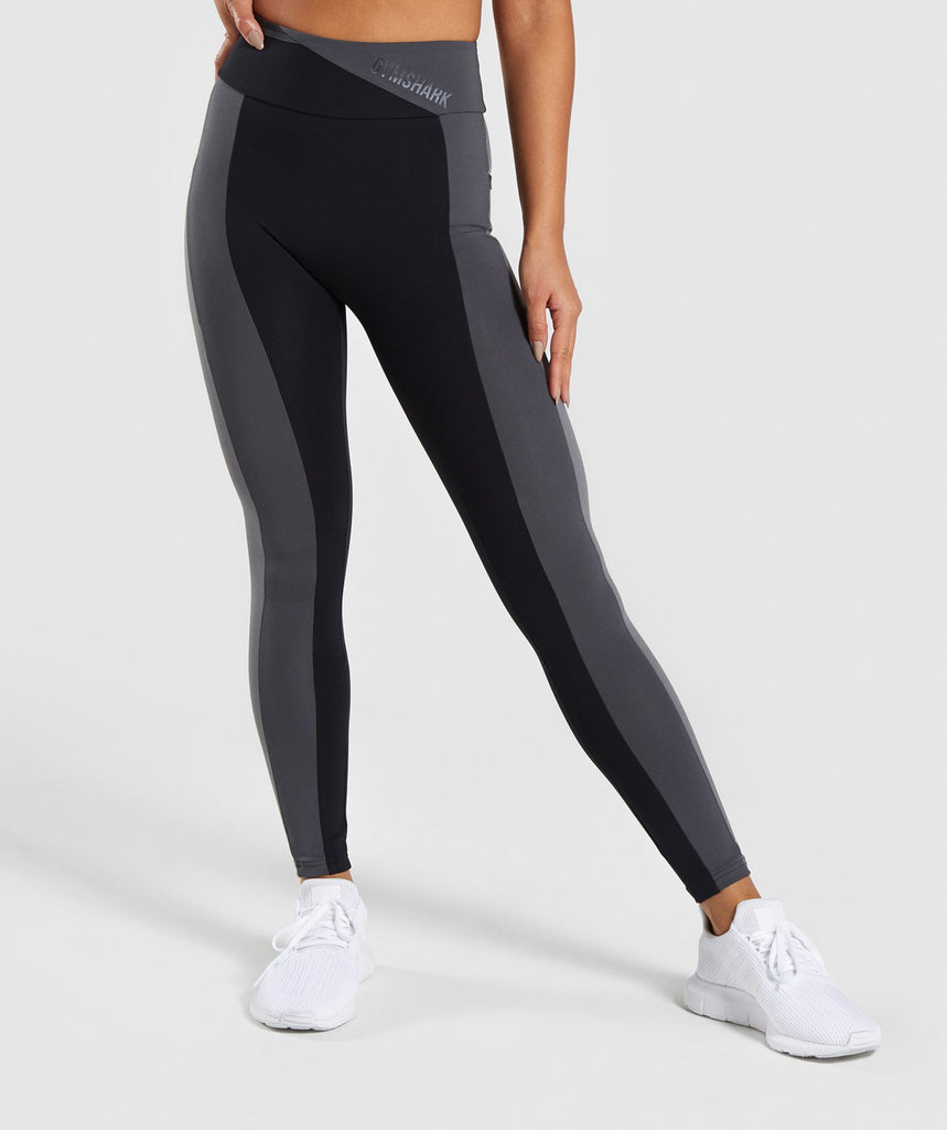 Gymshark Colour Block Leggings - Black/Charcoal/Smokey Grey 1