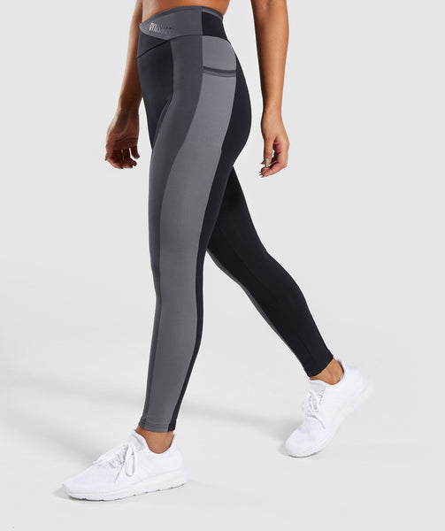 Gymshark Colour Block Leggings - Black/Charcoal/Smokey Grey 2