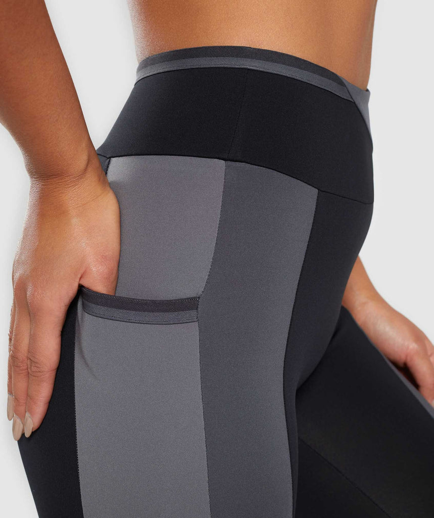 Gymshark Colour Block Leggings - Black/Charcoal/Smokey Grey 6