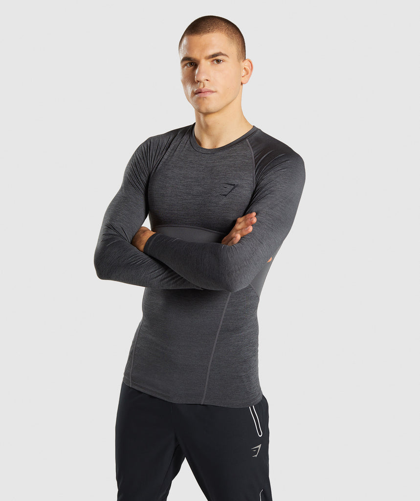 Gymshark Element+ Baselayer Long Sleeve Top - Black Marl 1