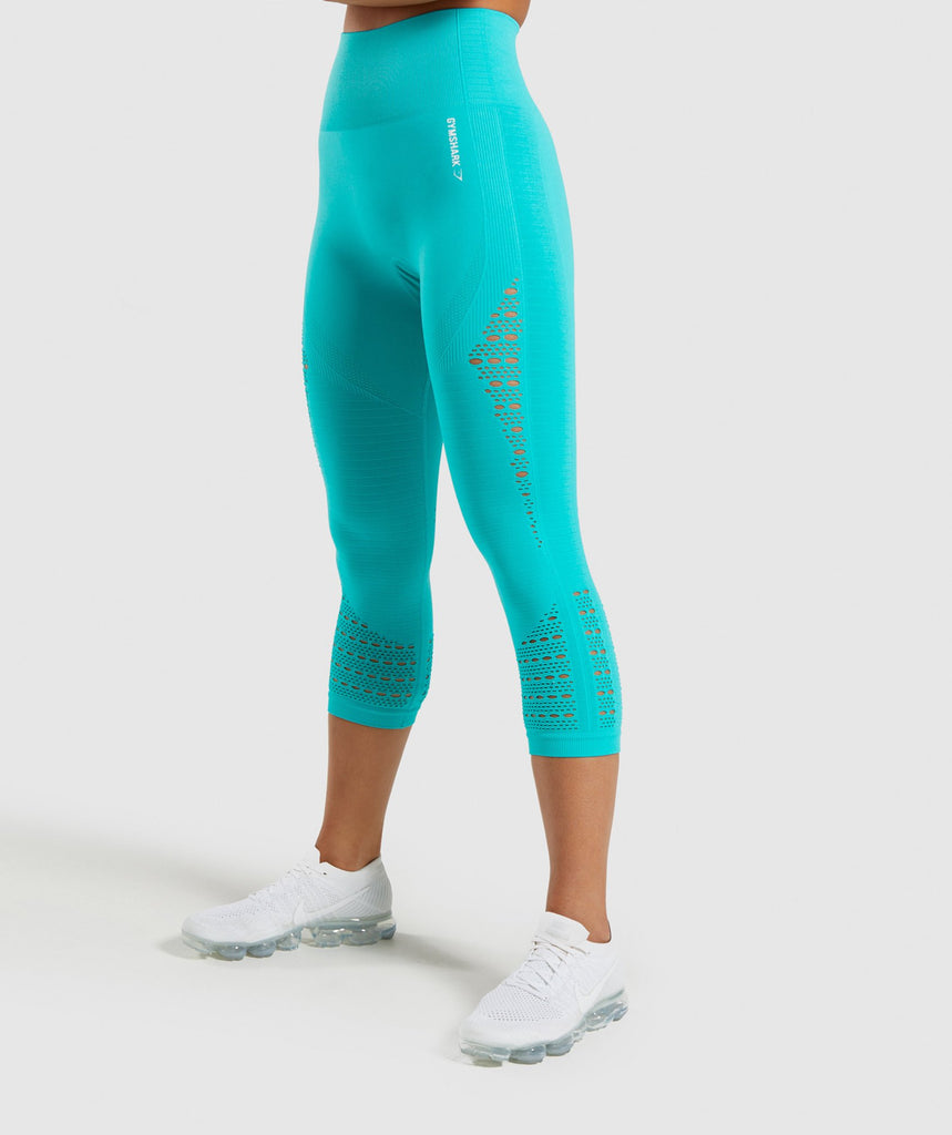 Gymshark Energy+ Seamless Cropped Leggings - Tropical Blue 1