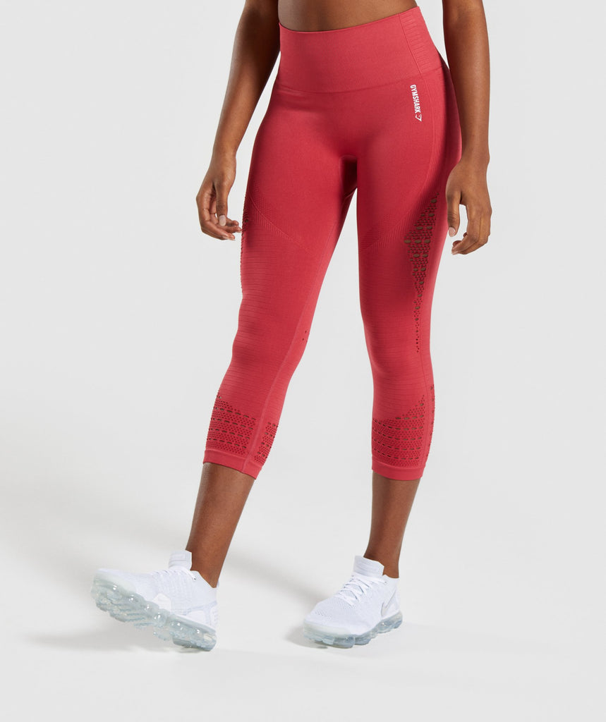 Gymshark Energy+ Seamless Cropped Leggings -  Red 1