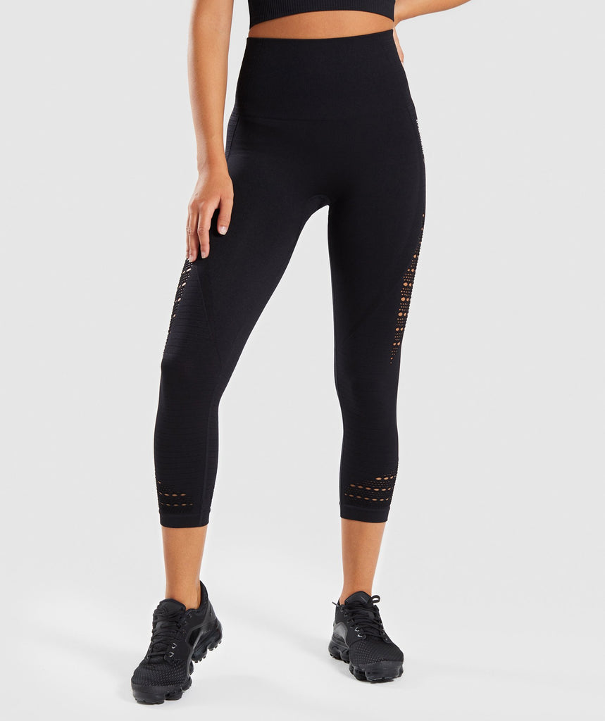 Gymshark Energy Seamless High Waisted Cropped Leggings - Black 1
