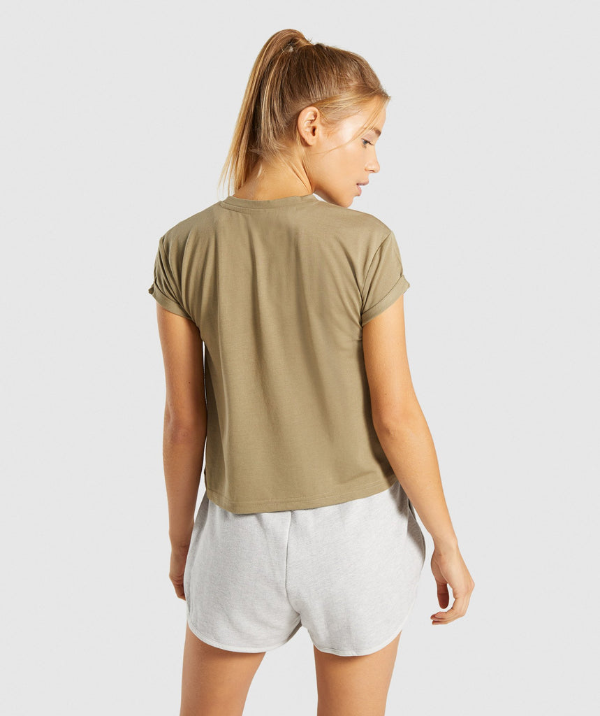 Gymshark Essential Be A Visionary Tee - Washed Khaki/White 2