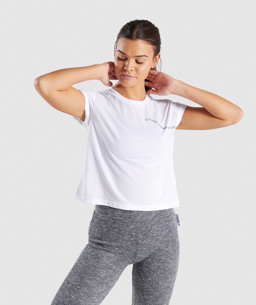 Gymshark Essential Be A Visionary Tee - White/Indigo 1