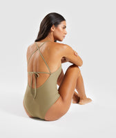 Gymshark Cut Out Swimsuit - Washed Khaki 9