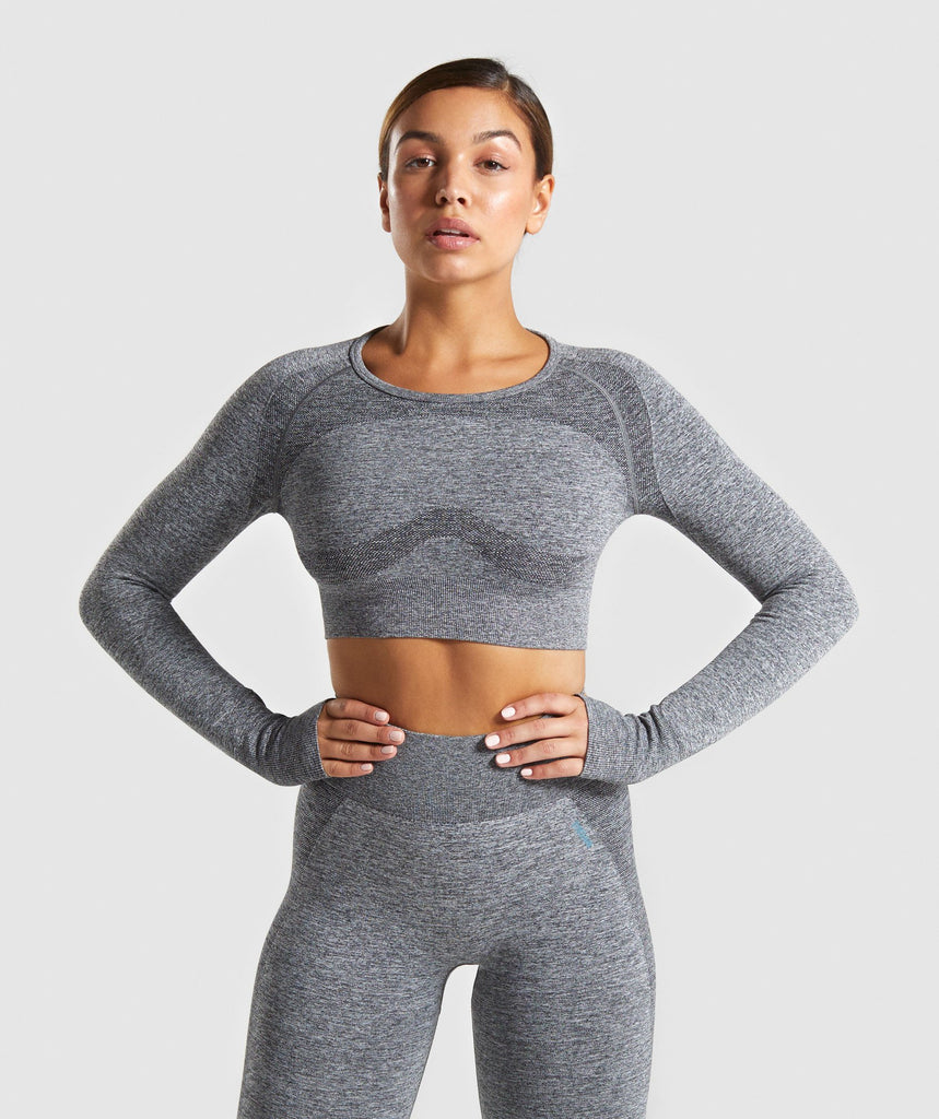 Gymshark Flex Sports Long Sleeve Crop Top - Charcoal Marl/Teal 1