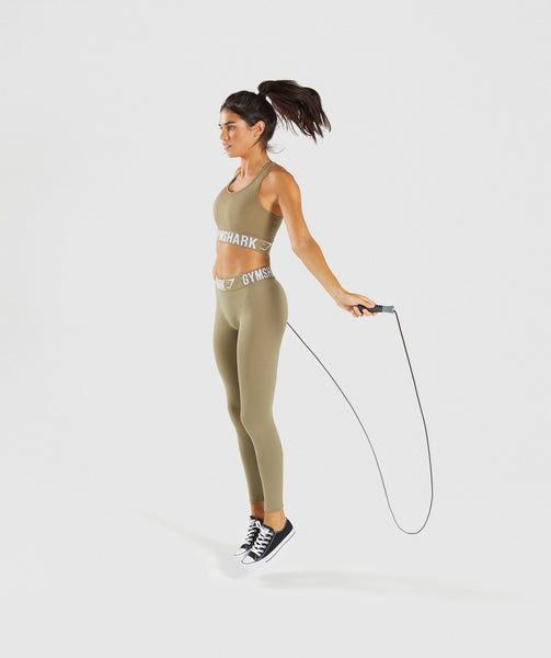 Gymshark Fit Leggings - Washed Khaki/White 3