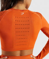 Gymshark Flawless Knit Long Sleeve Crop Top - Burnt Orange 11