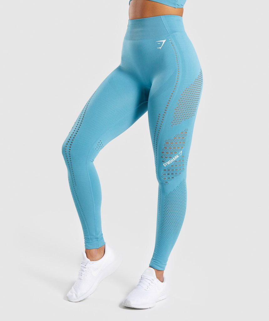 Gymshark Flawless Knit Tights - Sea Blue 4