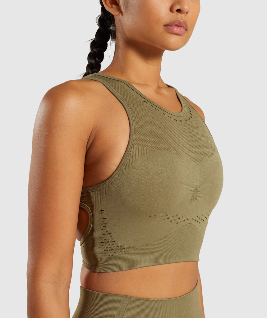 Gymshark Flawless Knit Sports Bra - Khaki 6