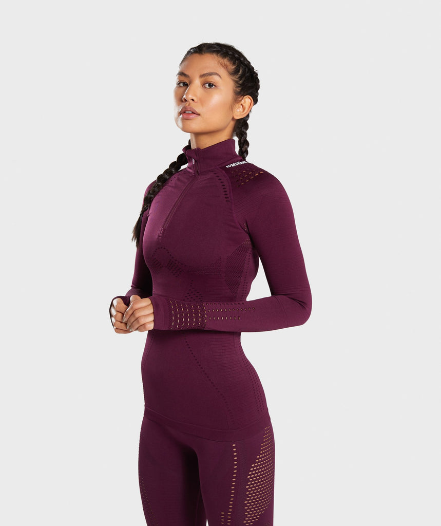Gymshark Flawless 1/2 Zip Up Pullover - Ruby 1