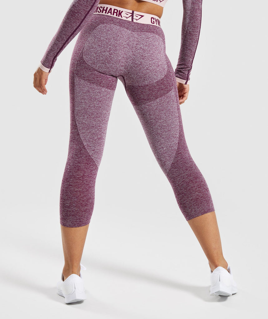 Gymshark Flex Cropped Leggings - Dark Ruby Marl/Blush Nude 2