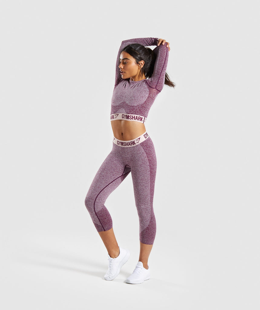 Gymshark Flex Cropped Leggings - Dark Ruby Marl/Blush Nude 5