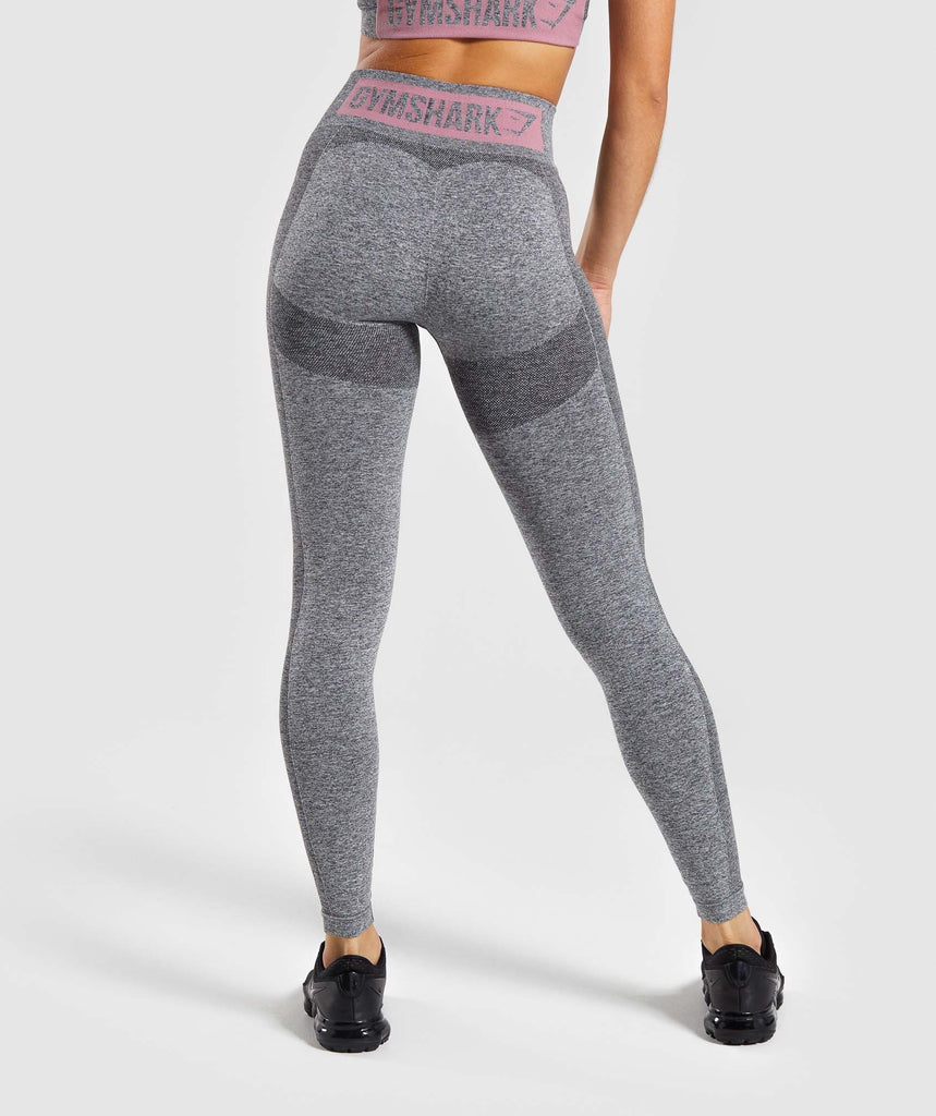 Gymshark Flex High Waisted Leggings - Charcoal Marl/ Dusky Pink 1