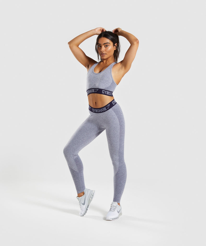 Gymshark Flex Sports Bra - Steel Blue Marl/Evening Navy Blue 6