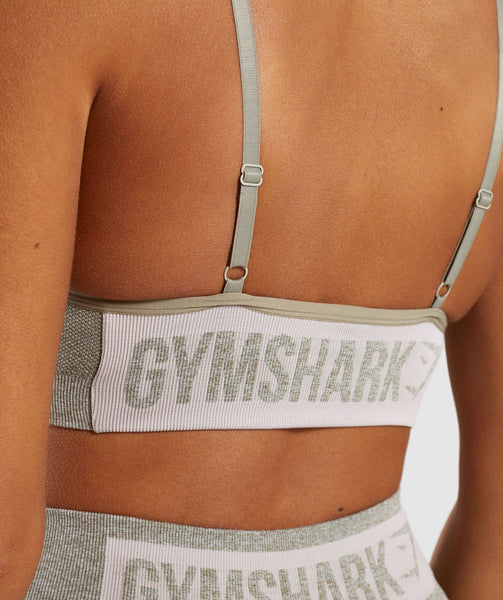 Gymshark Flex Strappy Sports Bra - Washed Khaki Marl/Blush Nude 4