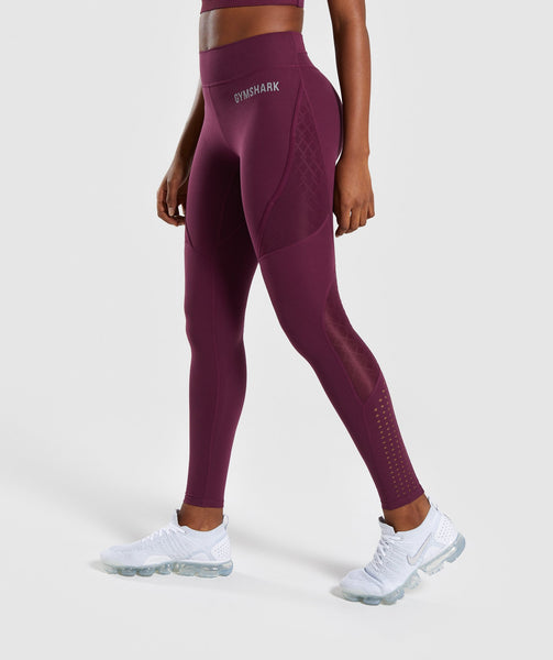 Gymshark Geo Mesh Leggings - Dark Ruby 2