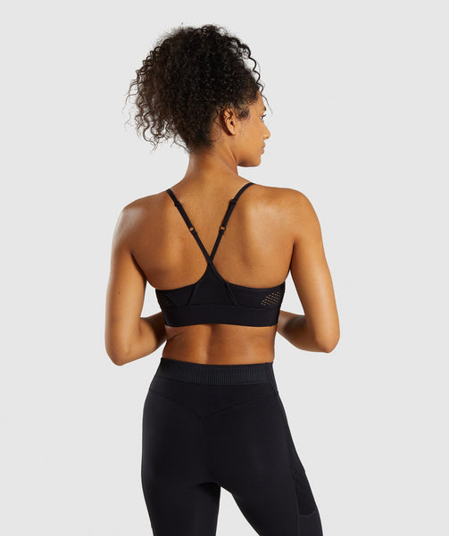 Gymshark Geo Mesh Sports Bra - Black 1