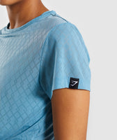 Gymshark Geo Mesh Two In One Top - Dusky Teal 12