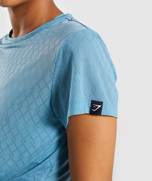 Gymshark Geo Mesh Two In One Top - Dusky Teal 4