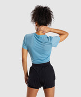 Gymshark Geo Mesh Two In One Top - Dusky Teal 8