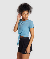 Gymshark Geo Mesh Two In One Top - Dusky Teal 9