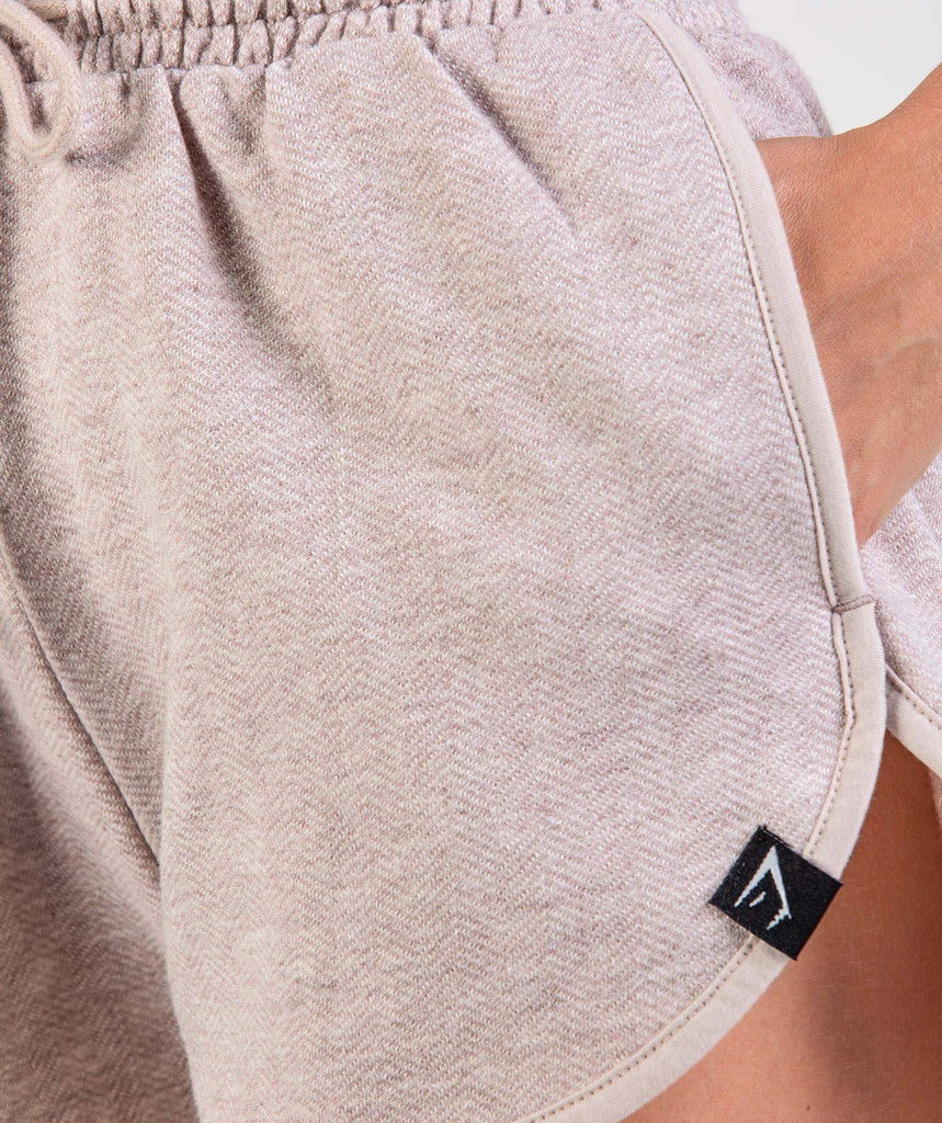 Gymshark Heather Dual Band Shorts - Taupe Marl 5