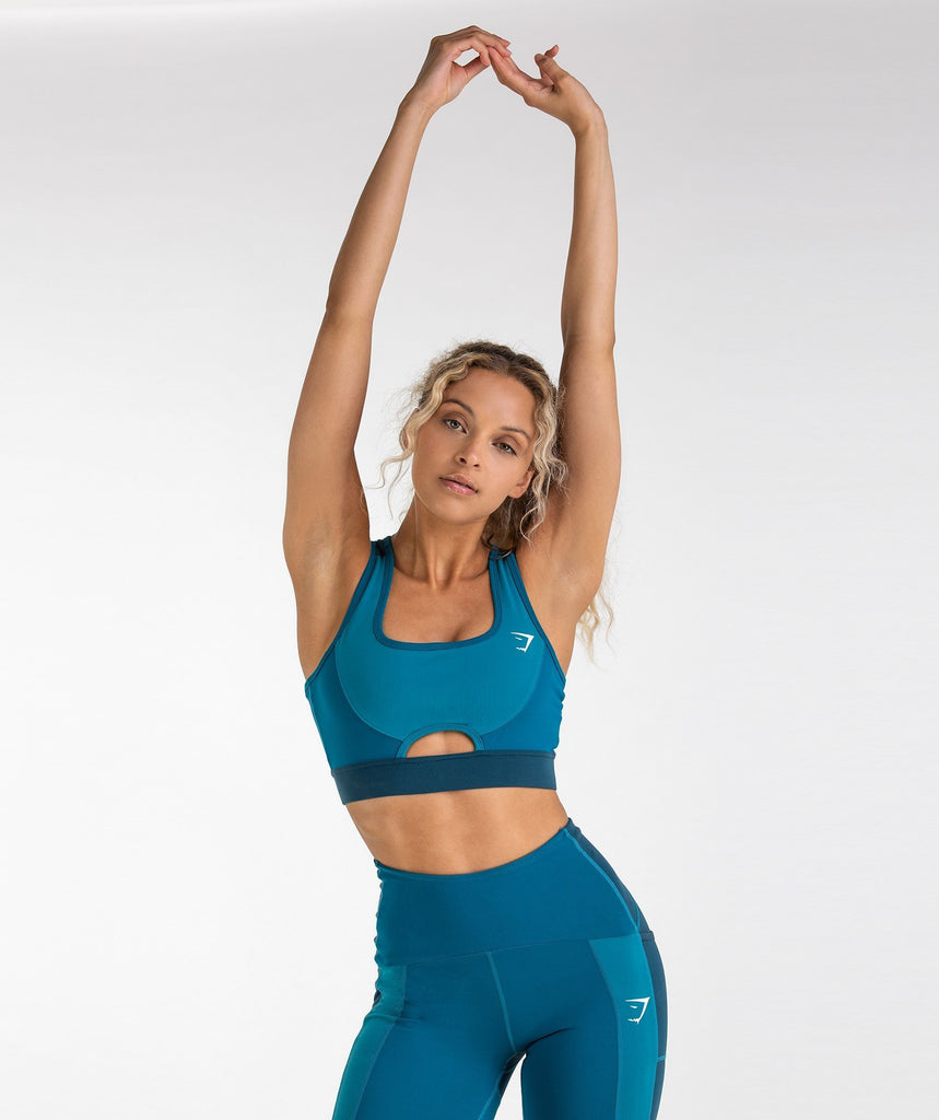 Gymshark Tonal Block Sports Bra - Deep Teal 1