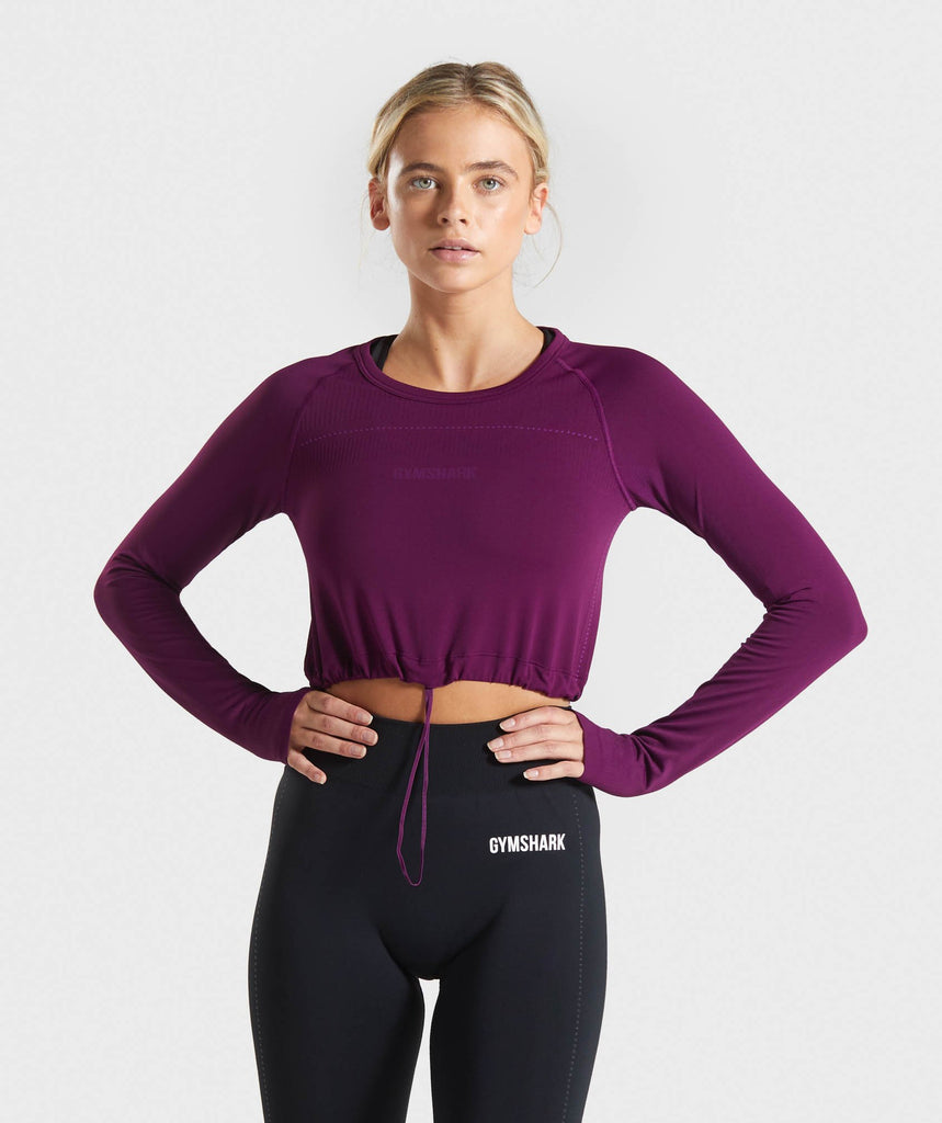 Gymshark Lightweight Seamless Long Sleeve Crop Top - Purple 1