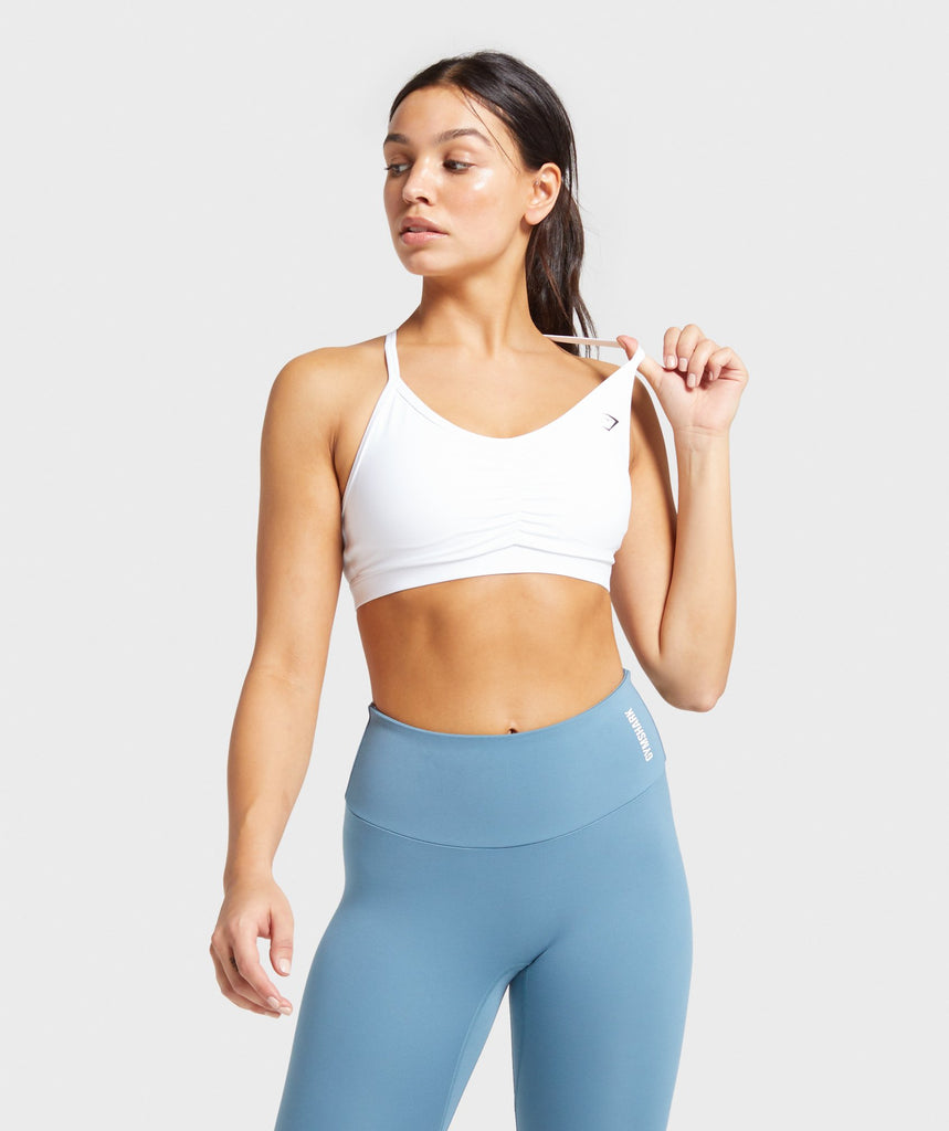 Gymshark Ruched Training Sports Bra - White 1