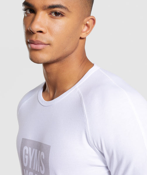 Gymshark Laundered Square Logo T-Shirt - White 4