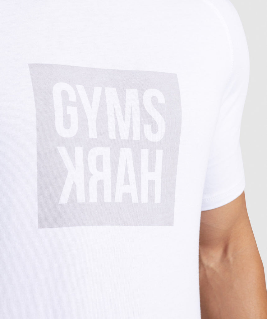 Gymshark Laundered Square Logo T-Shirt - White 6