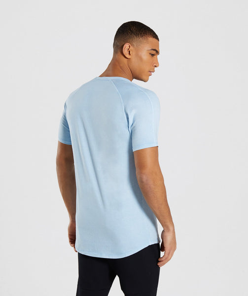 Gymshark Laundered Square Logo T-Shirt - Blue 1