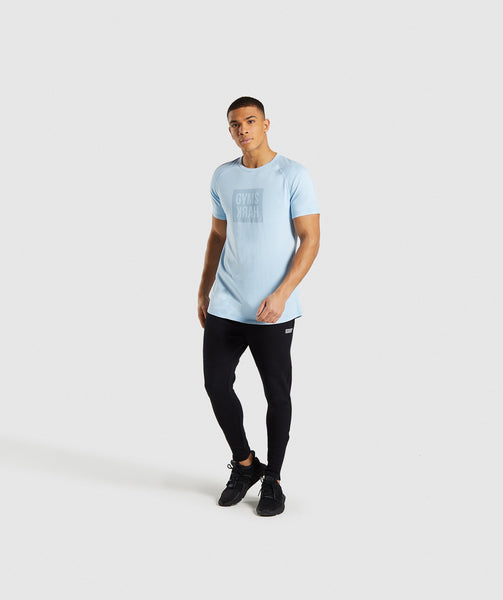 Gymshark Laundered Square Logo T-Shirt - Blue 3