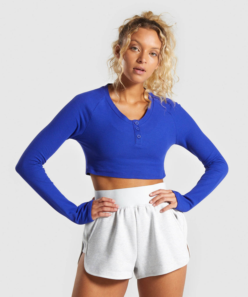 Gymshark Legacy Fitness Long Sleeve Crop Top - Blue 1