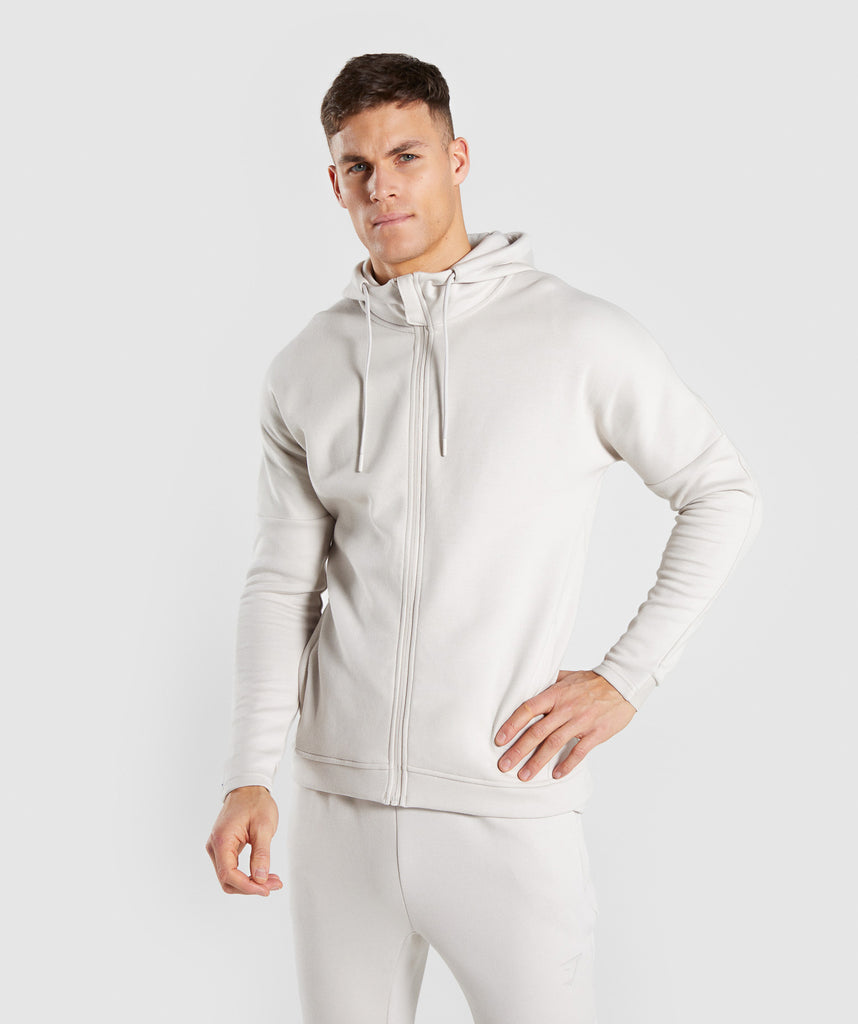 Gymshark Orbit Zip Hoodie - Light Grey 1