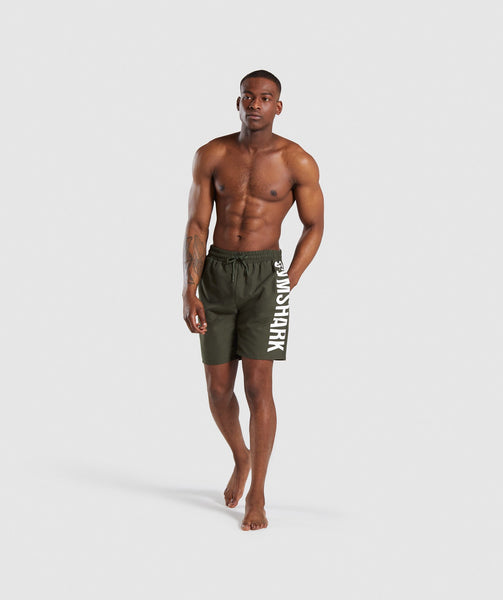 Gymshark Oversized Logo Board Shorts - Green 2