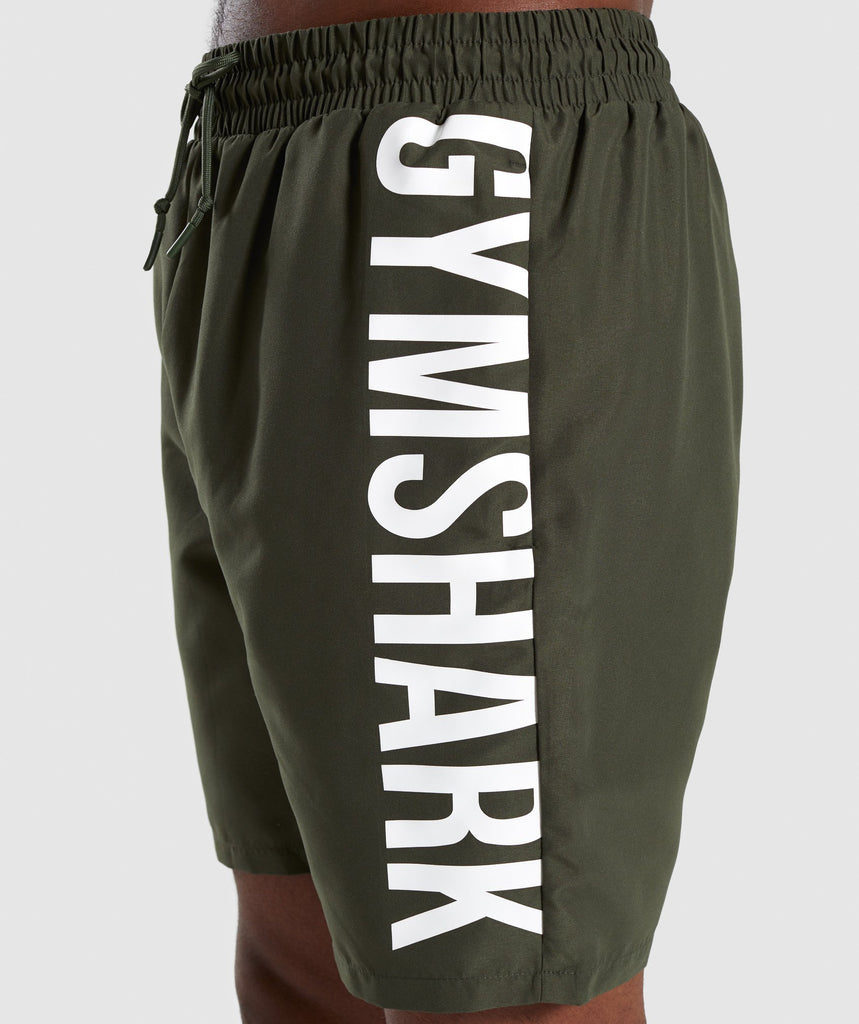 Gymshark Oversized Logo Board Shorts - Green 6