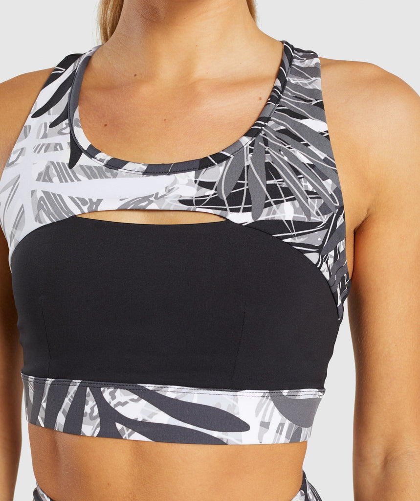 Gymshark Paradise Sports Bra - Black/White 6