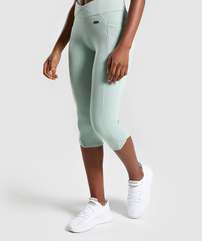 Gymshark Poise Cropped Leggings - Light Green 1