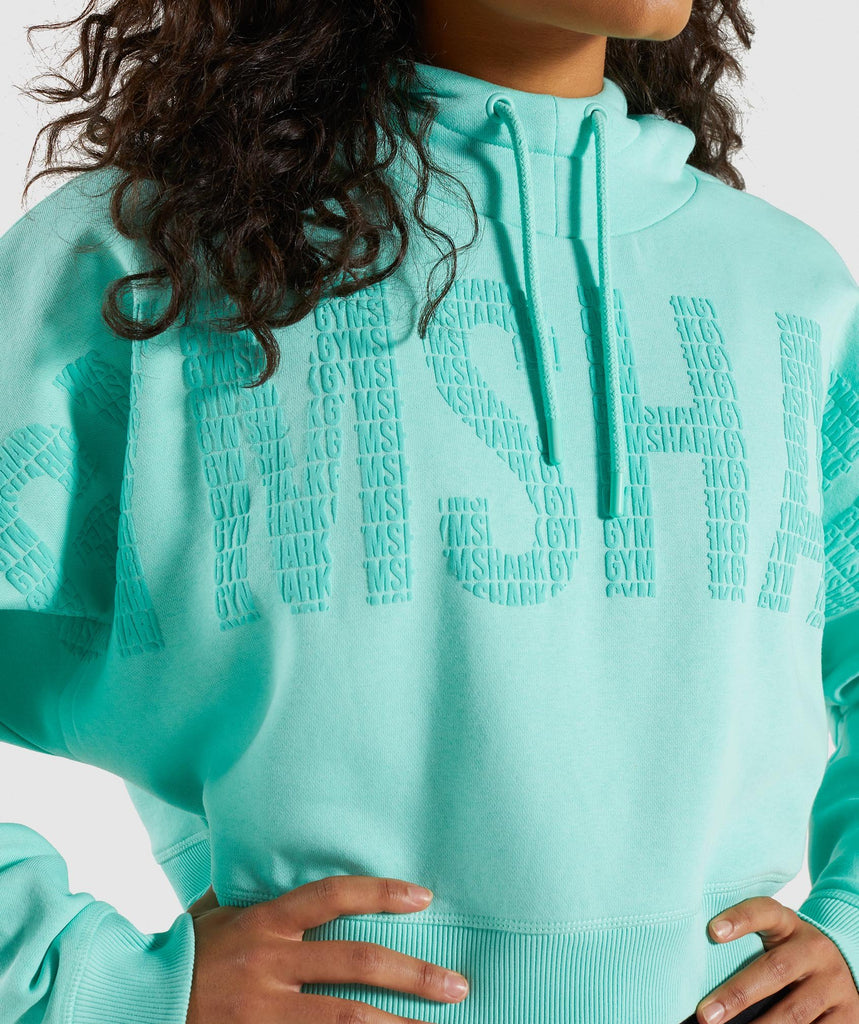 Gymshark Repeat Print Crop Pullover - Washed Turquoise 5