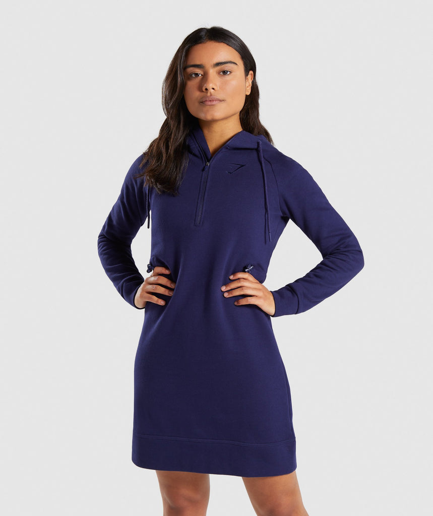 Gymshark Slim Fit Hooded Dress - Evening Navy Blue 1