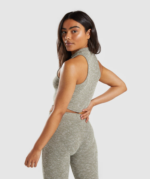Gymshark Slounge Crop Top - Washed Khaki Marl 1