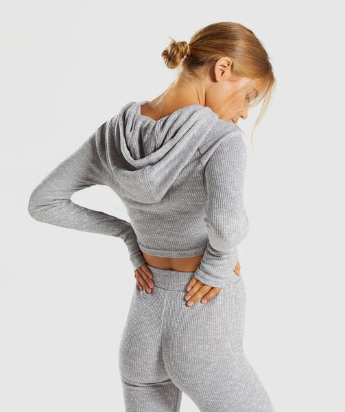 Gymshark Slounge Cropped Hoodie - Light Grey Marl 1