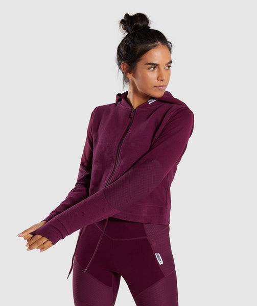 Gymshark True Texture Hooded Bomber Jacket - Dark Ruby 4