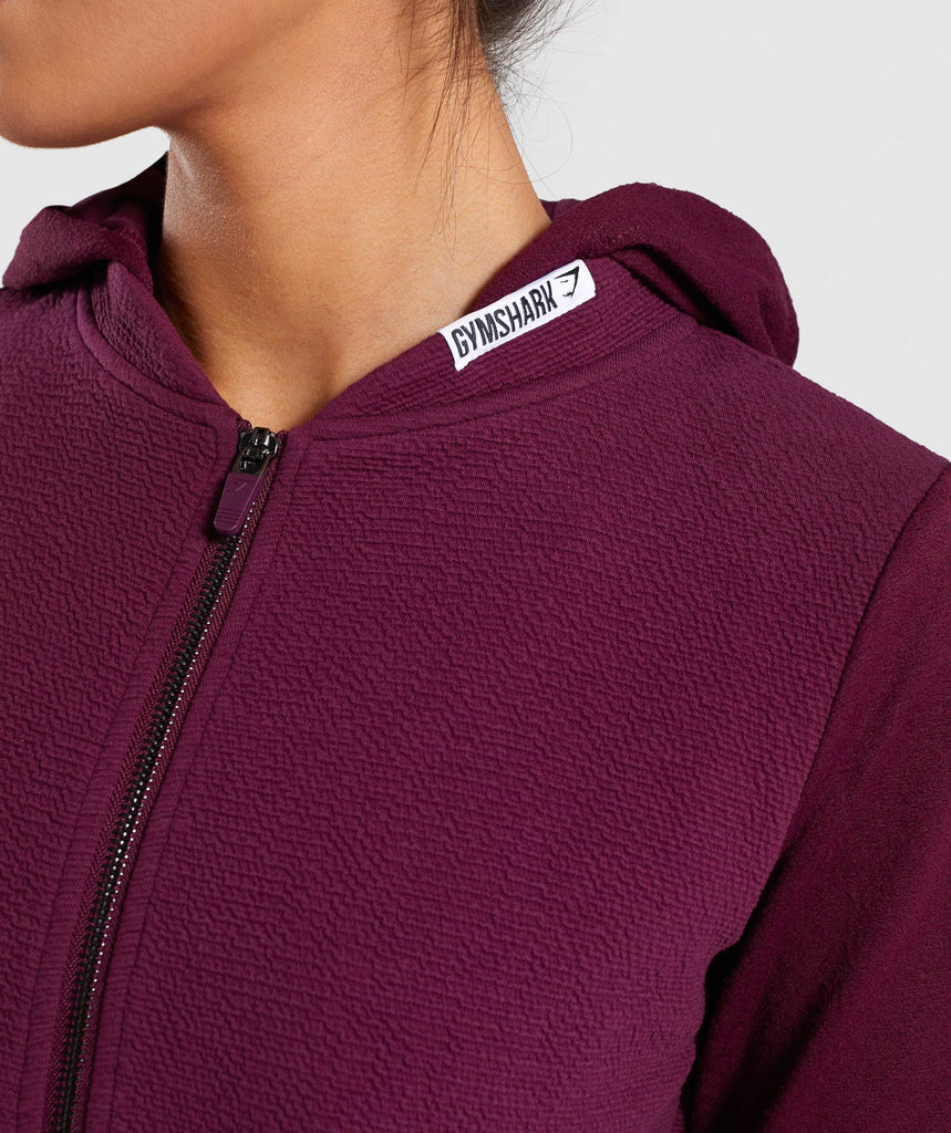 Gymshark True Texture Hooded Bomber Jacket - Dark Ruby 6